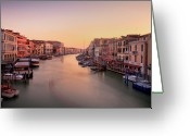 Moored Greeting Cards - Evening Glow Greeting Card by John and Tina Reid
