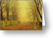 Tree-lined Greeting Cards - Evening Glow Greeting Card by John Atkinson Grimshaw