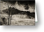 Black And White Greeting Cards - Evening Great Falls Maine Greeting Card by Bob Orsillo