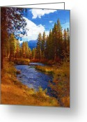 Diane Berry Digital Art Greeting Cards - Evening Hatch on the Metolius River Painting 2 Greeting Card by Diane E Berry