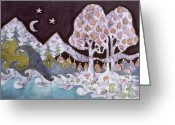 Peaceful Tapestries - Textiles Greeting Cards - Evening in a Gentle Place Greeting Card by Carol Law Conklin