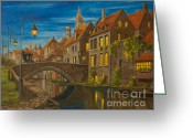 Landscape Painter Greeting Cards - Evening in Brugge Greeting Card by Charlotte Blanchard