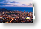 Diamond Head Greeting Cards - Evening in Honolulu Greeting Card by Jason Chu