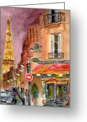 Eiffel Tower Greeting Cards - Evening in Paris Greeting Card by Sheryl Heatherly Hawkins