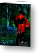 Evening Dress Mixed Media Greeting Cards - Evening Kimono  Greeting Card by Tammera Malicki-Wong