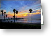 San Clemente Pier Greeting Cards - Evening Light  Greeting Card by Carl Jackson