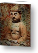 Buddhist Digital Art Greeting Cards - Evening Meditation Greeting Card by Christopher Beikmann