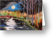 Early Pastels Greeting Cards - Evening Near the Pond Greeting Card by John  Williams