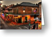Flag Photo Greeting Cards - Evening on Bourbon Greeting Card by Greg and Chrystal Mimbs