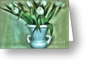 Sage Green Greeting Cards - Evening Party Tulips Greeting Card by Marsha Heiken