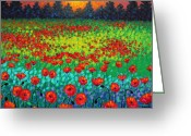 Green Field Painting Greeting Cards - Evening Poppies Greeting Card by John  Nolan