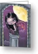 Vampire Painting Greeting Cards - Evening Rapture Greeting Card by Sour Taffy