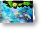 Koi Ponds Greeting Cards - Evening reflections Greeting Card by Gina Signore