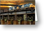 Train Greeting Cards - Evening Run Greeting Card by Tim Wilson