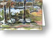 Recreation Mixed Media Greeting Cards - Evening Shadows at Shepherd Mountain Lake  No W101 Greeting Card by Kip DeVore