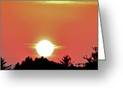 Shining Sun Kiss Mountains Greeting Cards - Evening Sky On The Ridge Greeting Card by Debra     Vatalaro