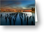 River. Clouds Greeting Cards - Evening Sky Over the Hudson River Greeting Card by Larry Marshall