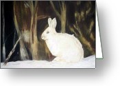 Hare Drawings Greeting Cards - Evening Snow Greeting Card by Debra Sandstrom