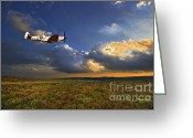 Flying Greeting Cards - Evening Spitfire Greeting Card by Meirion Matthias