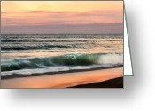 New England Sunset Greeting Cards - Evening Surf Greeting Card by Bill  Wakeley