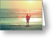 Adults Only Greeting Cards - Evening Surfer Greeting Card by Paul McGee