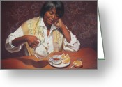 Realistic Pastels Greeting Cards - Evening Tea Greeting Card by Sue Halstenberg