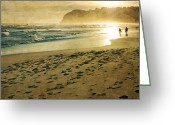 Surf Silhouette Greeting Cards - Evening Walk On Beach Greeting Card by Jill Ferry
