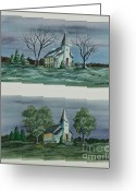 Village Church Greeting Cards - Evening Worship In Winter and Summer Greeting Card by Charlotte Blanchard