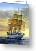 Ship Greeting Cards - Eventide Greeting Card by Tim Johnson