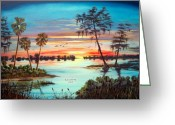 Location Art Greeting Cards - Everglades Sunset Greeting Card by Riley Geddings