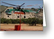 Tanker Greeting Cards - Evergreen Sikorsky S-64E Skycrane N6979R Tanker 707 Greeting Card by Brian Lockett