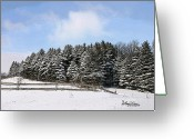 Split Rail Fence Greeting Cards - Evergreen Winter Greeting Card by Anthony R Socci
