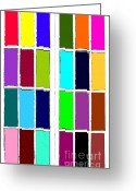 Grid Mixed Media Greeting Cards - Every Color Of The Rainbow Greeting Card by Kami McKeon