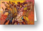 Black Art Greeting Cards - Every Round Goes Higher Greeting Card by Larry Poncho Brown