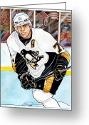 Espn Drawings Greeting Cards - Evgeni Malkin Greeting Card by Dave Olsen