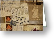 Ephemera Collage Greeting Cards - Evidence Greeting Card by Carol Leigh