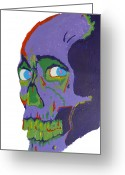 1980s Portraits Greeting Cards - Evil Dead Skull Greeting Card by Lucy Anthony