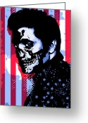Elvis Greeting Cards - Evil Elvis Greeting Card by Tom Deacon