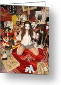 Femme Fatale Greeting Cards - Evil Schoolgril - On Her Knees Greeting Card by Liezel Rubin