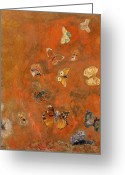 Canvas Greeting Cards - Evocation of Butterflies Greeting Card by Odilon Redon