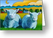 Sheep Greeting Cards - Ewe Two Greeting Card by Stacey Neumiller