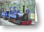 Trains Painting Greeting Cards - Exbury Steam Locomotive With Driver Greeting Card by Martin Davey