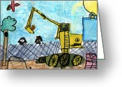 Bella Greeting Cards - Excavator Greeting Card by Bella