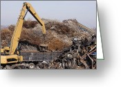 Blue Collar Greeting Cards - Excavator Moving Scrap Metal with Electro Magnet Greeting Card by Jeremy Woodhouse