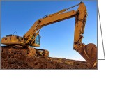 Construction Greeting Cards - Excavator Greeting Card by Olivier Le Queinec