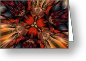 Computer Generated Abstract Greeting Cards - Excitement in Red Greeting Card by Claude McCoy