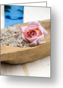 Body Scrub Greeting Cards - Exfoliating body scrub from sea salt and rose petals Greeting Card by Frank Tschakert