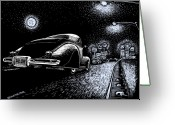 Hot Rod Drawings Greeting Cards - Exit Ramp Greeting Card by Bomonster
