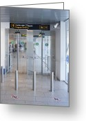 Airport Concourse Greeting Cards - Exit to a Baggage Claim Greeting Card by Jaak Nilson