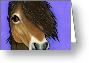 Wild Horse Painting Greeting Cards - Exmoor Pony  Greeting Card by Leanne Wilkes